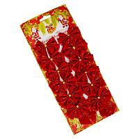 Бант новогодний, красный, 12шт в уп., L-6,5см, текстиль