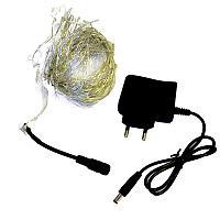 Электрогирлянда светодиодная на проволке ,100 ламп, L-5м, цвет желтый , немигающая, пластик
