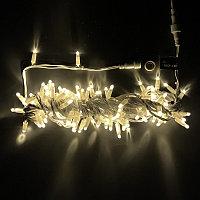 Электрогирлянда с белым проводом, 100 ламп, L-10м, цвет холодно-желтый, пластик
