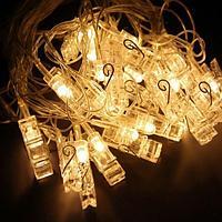 """Электрогирлянда """"Прищепки"""", 10 ламп, L-2,5м, цвет желтый, пластик"""