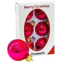 """Шары """"Merry Christmas"""", d-6см, 6шт в уп, цвет микс, стекло"""