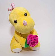 """Мягкая игрушка """"Дракоша с цветком"""", h-26см, текстиль"""