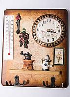 Коллаж с термометром и часами, 22*17см, дерево