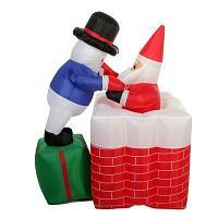 """Новогодняя надувная композиция""""Санта в дымоходе"""", h-1,80см, пластик"""