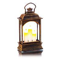 Новогодний сувенир-фонарь плоский, со светящейся картинкой , h-12,8 см, пластик