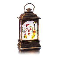Декоративный светящийся фонарь с 3 свечами , h-12,8 см, пластик