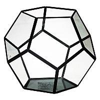 Флорариум, 18*20 см, каркас черного цвета, металл, стекло