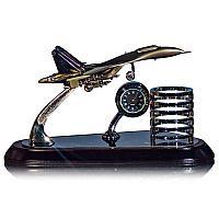 Сувенир настольный 3в1 самолёт, часы, подставка под ручки, 14,5*25 см, металл, мдф