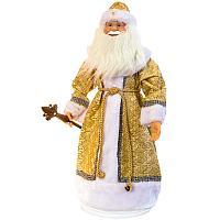 Дед Мороз в золотой шубе, h-70 см, текстиль /пластик