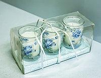"""Декоративные свечи в стаканах-подсвечниках """"Розы"""" (3 штуки)"""