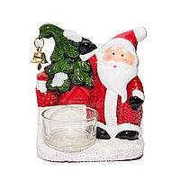 """Подсвечник НГ """"Снеговик/Санта"""", со стеклянным подсвечником, керамика"""