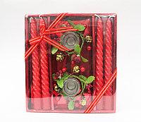 Свечи с подсвечниками в подарочной упаковке, 4 шт., красные