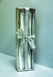 Декоративные праздничные свечи, серебристо-белые (2 штуки)