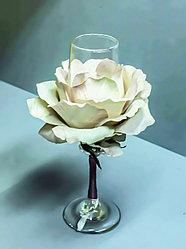 """Декоративный подсвечник для чайной свечи """"Бокал с розой"""" (стекло)"""