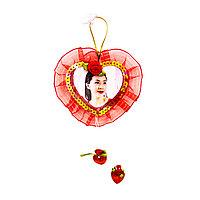 Брелок сердце плоское на веревочке, фото