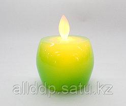 Светодиодная свеча на батарейках, яблоко, зеленое