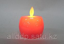 Светодиодная свеча на батарейках, яблоко, розовое