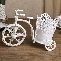 "Кашпо ""Велосипед с ажурной корзинкой"" 18,5х26х13 см , пластик"