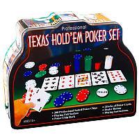 """Настольная игра """"Покер"""", 200 фишек, 2 калоды карт, 10*25,5см, металл/пластик/картон"""