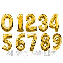 Шар надувной праздничный, цифры, золотистый, 40 см.