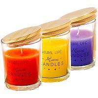 Свеча ароматизированная, в баночке, с крышкой, h-9см, парафин