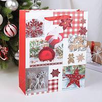 Пакет новогодний, ламинированный 43 х 30 х 12 см , бумага
