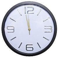 Часы настенные, d-30см, круглые с золотыми цифрами, пластик/стекло