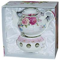 """Чайник заварочный с подставкой для подогрева """"Птички"""", 15*24,5*24,5см, керамика"""