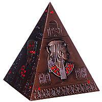 """Копилка """"Пирамида с египедскими письменами и рисунками"""", h-14см, металл"""