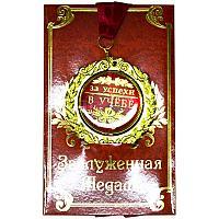 """Медаль в открытке """"За успехи в учебе"""", d-7см, металл/картон/текстиль"""