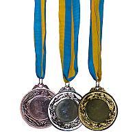 Медаль спортивная, d-6,5см, с лентой, металл/текстиль
