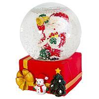 """Снежный шар """"Санта с елкой"""", d-6см, стекло"""