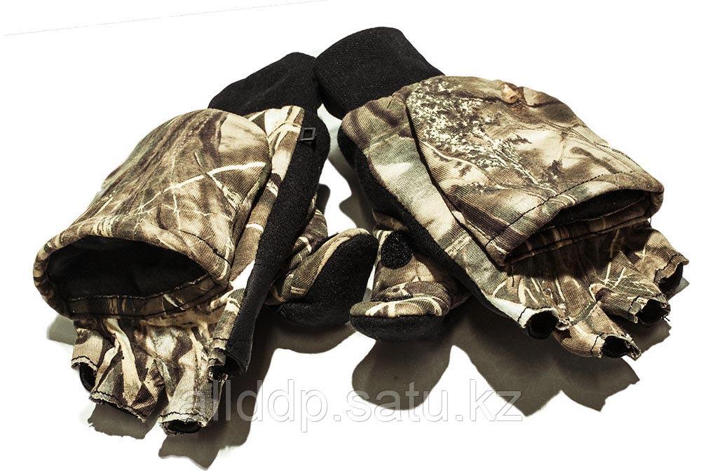 Перчатки-варежки флисовые с откидными пальцами. Зимние.