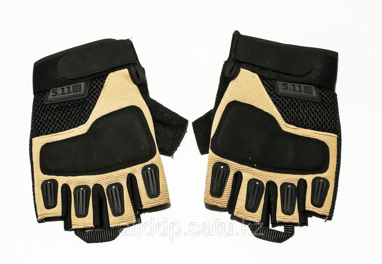 Тактические перчатки 5.11 беспалые Oakley, 15 см,черн-беж