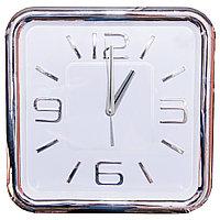 Часы настенные, d-34см, квадратные, никелированный ободок, серебристые цифры, пластик/стекло