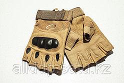 Тактические перчатки беж. Беспалые, с усиленной защитой