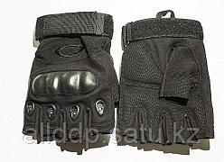 Тактические перчатки черные. Беспалые, с усиленной защитой