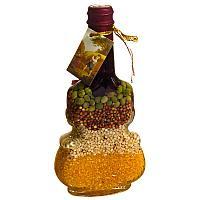Бутыль декоративная с крупой, h-19см,стекло