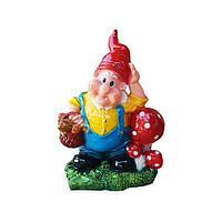 """Садовая фигура """"Гном с корзиной грибов"""", h-35см, керамика"""