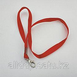Шнур для бейджа 1,5см с метал.карабином (красный)