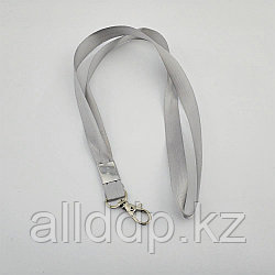 Шнур для бейджа 1,5см с метал.карабином (светло-серый)