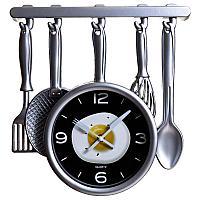"""Часы настенные """"Кухонная утварь - яичница"""", 32*34см, пластик"""