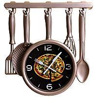 """Часы настенные """"Кухонная утварь - пицца"""", 32*24см, пластик"""
