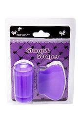Силиконовый штам + скрапер, набор для стемпинга 2в1