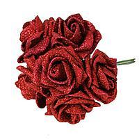 """Искусственные цветы """"Букет розочек"""" h-14см, пластик/текстиль"""
