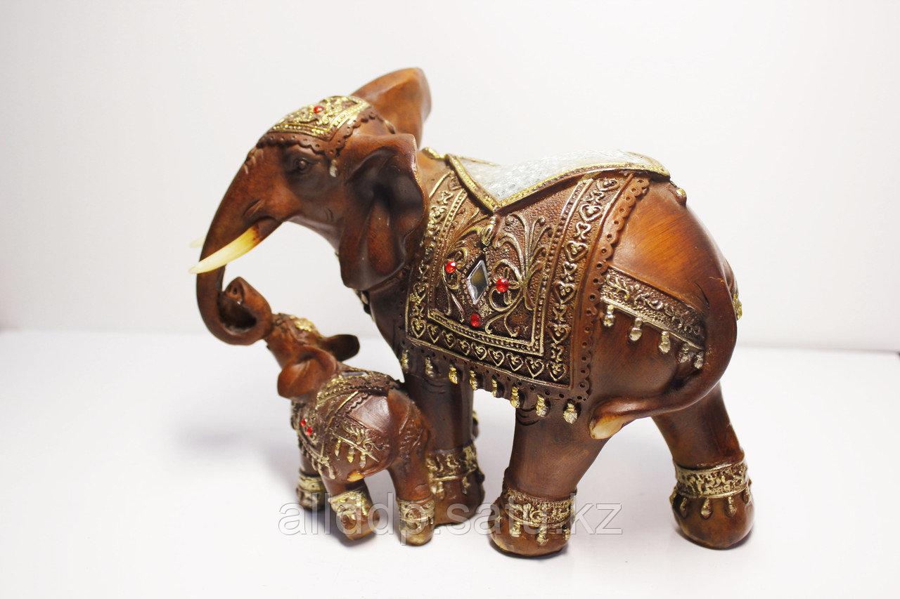 """Статуэтка """"Слониха со слоненком"""", 17х17 (коричневый)"""