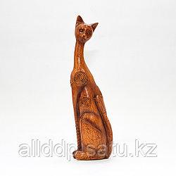 """Статуэтка деревянная """"Кошка"""", коричневая, 20 см"""