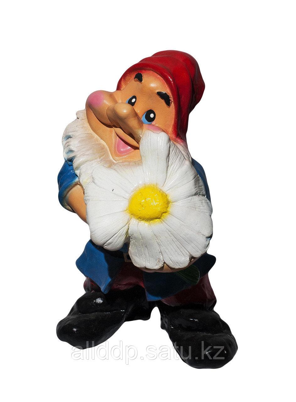 """Статуэтка """"Гномик с ромашкой"""", 36 см"""