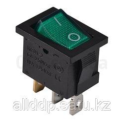 Переключатель KCD1-2-101N GR/B черный с зеленой клавишей с подсветкой
