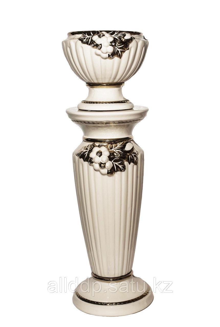 """Ваза для цветов """"Колонна"""", фарфор, колонна 26*63 см, ваза 30*23 см"""